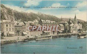 Old Postcard Dinant The right bank of the Meuse and ferries to Hastiere