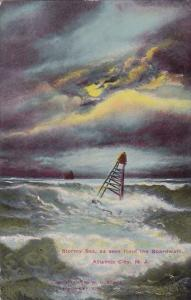 New Jersey Atlantic City Stormy Sea As Seen From The Boardwalk 1913
