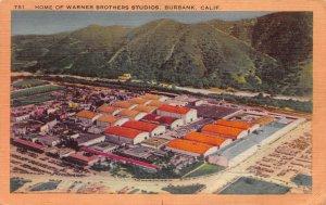 Warner Brothers Studios, Burbank, California, Early Linen Postcard, Used in 1950