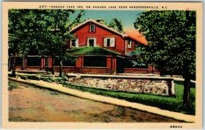 Hendersonville, North Carolina Postcard KANUGA LAKE INN Hotel Linen 1940s Unused
