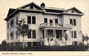 Madison Minnesota~Hospital Building~3-Level of Porches 1915 Postcard