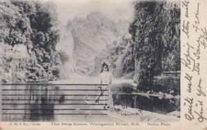 Child in Rowing Boat at Drop Scene Wanganui River Antique Postcard