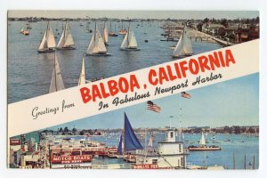 Postcard Greetings From Balboa California Newport Harbor Standard View Card