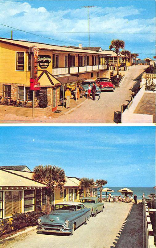 Daytona Beach FL Russell's Breezway Motel Cottage Colony Old Cars Postcard