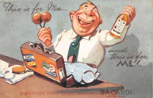 G19/ Interesting Postcard Bacardi Rum Advertisement Suitcase Man Cuba c20s
