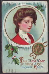 This New Year,Woman,Four Leafed Clover Postcard