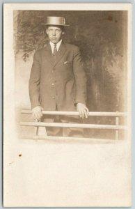 Milwaukee WI Behatted Louie Olson Overlooking Sunken Gardens From Rail RPPC 1914