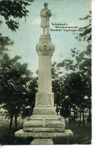 BAXTER SPRINGS KANSAS SOLDIERS MONUMENT VINTAGE POSTCARD KS.