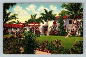 Miami FL-Florida, Tropical View of Miami Estate over Garden Wall, Linen Postcard
