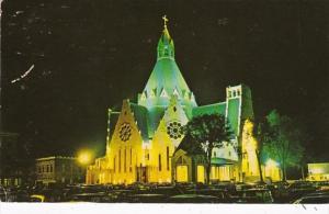 Canada Montreal Notre-Dame At Night Illuminated