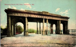 Baltimore Maryland 1909 Postcard Madison Avenue Entrance Druid Hill Park