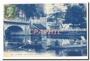 Le Mans Old Postcard picturesque corner on & # 39Huisne
