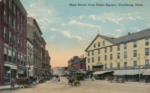 FITCHBURG , Massachusetts, 1910s; Main Street from Depot Square