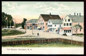 dc1952 - HAMPTON New Hampshire Postcard 1900s Town Square. Stores
