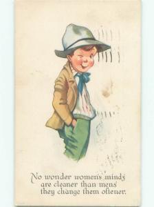 Pre-Linen WINKING BOY COMMENTS ON WOMEN'S MINDS J0158