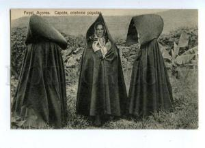 144555 PORTUGAL AZORES Native Costumes Fayal Capote Vintage PC