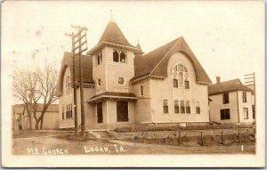 1914 LOGAN, Iowa RPPC Real Photo Postcard M.E. CHURCH Building / Street View