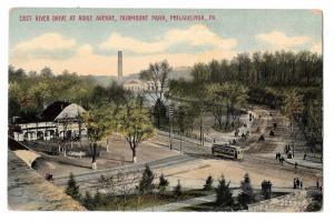 PA Philadelphia East River Drive at Ridge Ave Fairmount Park Vntg DPO Postcard