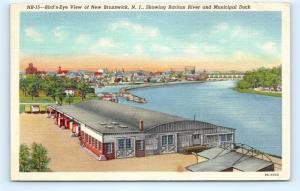 Postcard NJ New Brunswick Bird's Eye View Raritan River & Municipal Dock I1