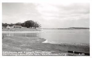 Kentucky Lake State Park~Bath House & Bathing Beach~Life Guard Stand~1940s RPPC