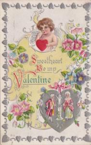 Valentine's Day Cupid and Victorian Couple 1911
