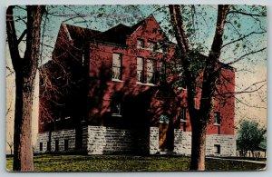 Washington IA~Three-Story South School~Stone Foundation~Late-Budding Trees~c1914