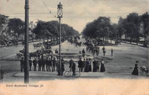 Grand Boulevard, Chicago, Illinois, Early Postcard, Unused
