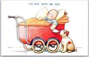 Vintage BAMFORTH Comic Postcard Dog Steals Baby's Bottle Artist-Signed Tempest