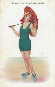 COMIC; 1900-10s; Woman in green one piece bathing suit, Couldn't wish for a bet