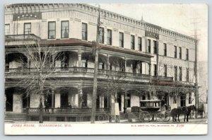 Oconomowoc Wisconsin~Jones House~Hotel Courtesy Horse Drawn Coach~1907 Postcard