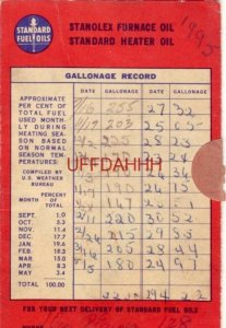 STANDARD FUEL OIL GALLONAGE RECORD 1947-48 Heating Season DES PLAINES, IL