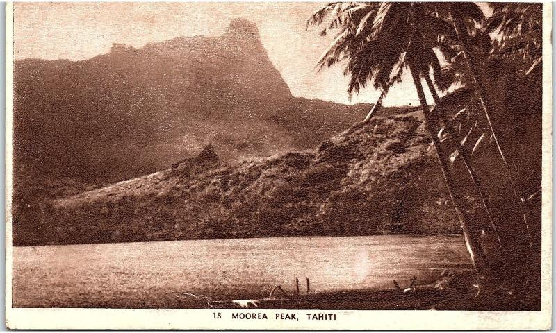 Postcard Tahiti Moorea Peak South Pacific French Polynesia Oceania RARE K127