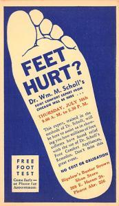 Medicine Advertising Old Vintage Antique Post Card Free Foot Test Unused