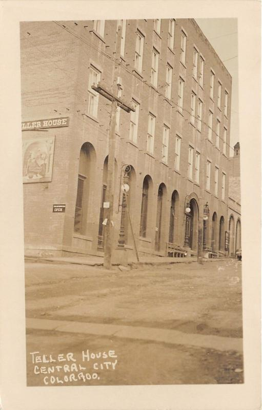 Central City Colorado~Teller House Hotel~Poster on Wall~Unpaved Street~RPPC