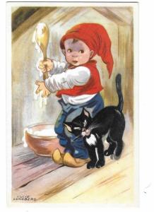 Little Boy and Black Cat Signed Lucie Lundberg Printed in Sweden