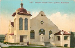 Spokane WA Spanish Revival Architecture: Christian Science Church c1910 Postcard