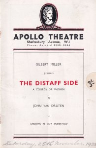 The Distaff Side Sybil Thorndike Martita Hunt Apollo Theatre Programme