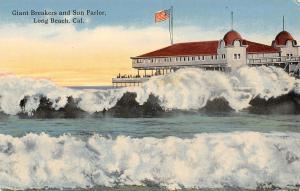 Long Beach CA Giant Foamy White Breakers~Flag Waves Over Sun Parlor c1910 SHARP!