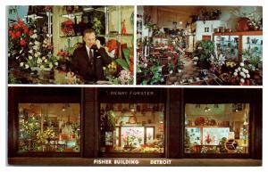 1950s/60s Henry Forster Florist, Fisher Building, Detroit, MI Ad Postcard