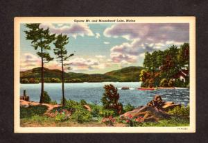 ME Moosehead Lake Squaw Mtn Mountain Greenville Maine Linen Postcard