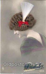Real Hair on Postcard Postcards Unused