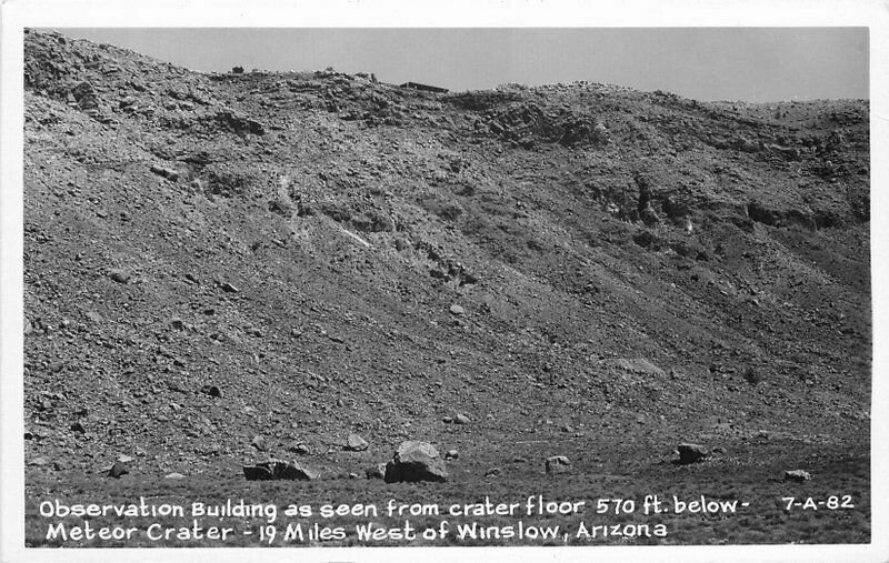 Meteor Crater Observation Building 1950s Route 66 RPPC Photo Postcard 21-2331