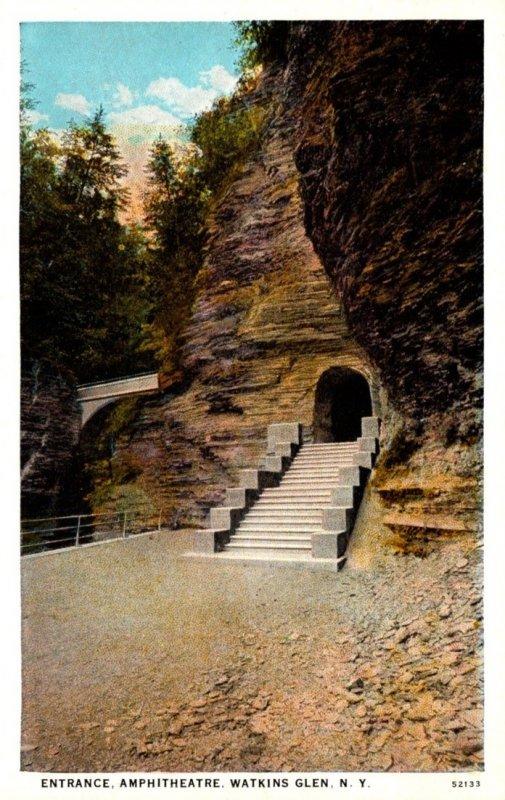 New York Watkins Glen Aphitheatre Entrance  Curteich
