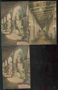 pc9512 postcard San Juan Capistrano California THREE Hand Colored MOBSC note dup