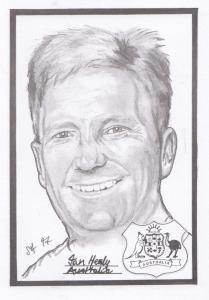 Ian Healy Australian Cricket Rare Artist Drawing Limited Edn of 500 Postcard
