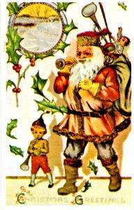 Greeting - Christmas. Santa Claus in Brown Coat  (Reproduction)