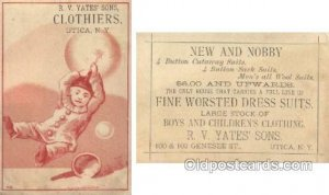 R.V. Yates Sons Clothiers, Utica NY, USA Trade Card Approx Size Inches = 3 x ...