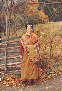 Sweden Old Vintage Antique Post Card Skansen, Dress for Church Stockholm Blac...
