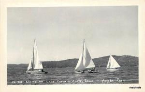 1940s Sailing Lake Coeur D Alene Idaho Lee RPPC real photo postcard 5030