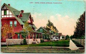 Spokane, Washington Postcard NINTH AVENUE Residential Street Scene 1913 Cancel